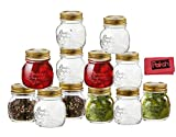 Bormioli Rocco Quattro Stagioni 12 Piece, 5 oz Glass Decorative Mason Jar Set for Canning / Spice / Jelly / Jam, By Paksh Novelty