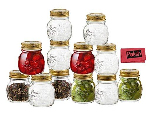 Bormioli Rocco Quattro Stagioni 12 Piece, 5 oz Glass Decorative Mason Jar Set for Baby Food, Canning, Gifts, DIY, Wedding Favors -