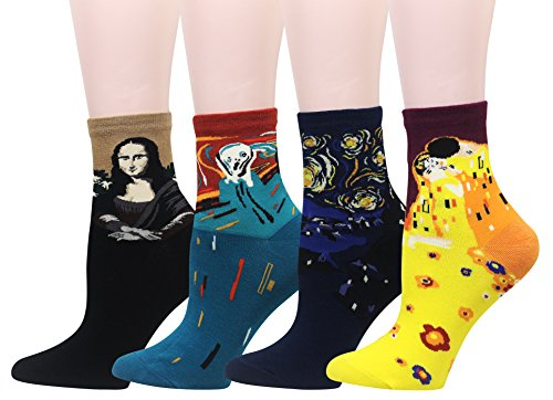 Wish Island 4 Pack Women's Mona Lisa Starry Night Van Gogh Gustav Klimt Art Famous Painting Socks Novelty Dress Socks