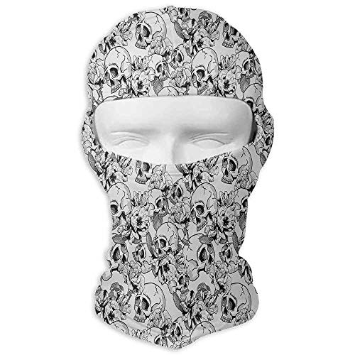 Ski Mask Snowboarding Day of The Dead Festive Celebration Mexican Spanish Sketch Dead Skulls Artwork Print Black and White -