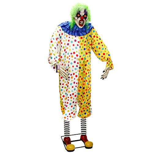 Halloween Haunters Giant 7 Foot Animated Standing Scary Moving Circus Clown Prop Decoration - Rubber Latex Evil Face, Red Light Up Eyes - Animatronic Head & Arm Motion - Haunted House Entryway Display]()