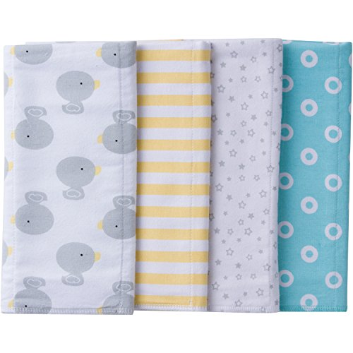 - Gerber Baby 4 Pack Flannel Burp Cloth, New Duck, One Size