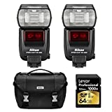 Nikon SB-5000 AF Speedlight Flashes, Case, and Card Bundle - Includes 2 Flashes, Deluxe Digital SLR Camera Case Gadget Bag, and 64GB Professional 1000x SDHC/SDXC Class 10 UHS-II Memory Card
