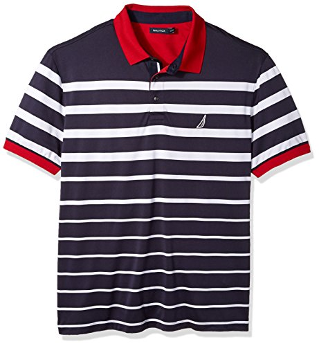 Nautica Men's Classic Fit Short Sleeve Striped Moisture Wicking Polo Shirt, True Navy, Large