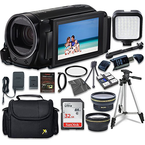 Canon VIXIA HF R70 Camcorder with Sandisk 32 GB SD Memory Card + LED Light + Extra Accessory Bundle