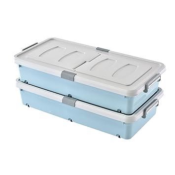 Caja de almacenamiento de plástico azul con ruedas y barandilla Un par de cajas alargadas de ...