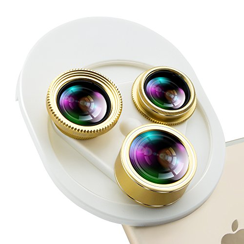 Wide Angle + Macro Clip-On Lens for Smartphones and Tablets (Gold) - 4