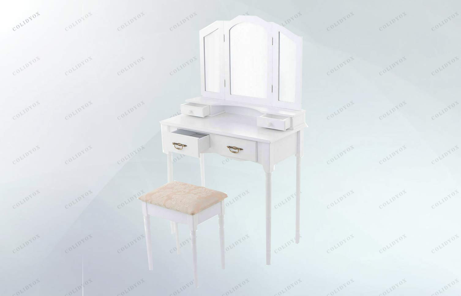COLIDYOX___White Vanity Makeup Table and Stool Set,Beautiful and Traditional Style,Made of Thick MDF Panel and Wood Leg,Dressing Furniture Set is Sturdy and Durable Enough to Serve You a Long time