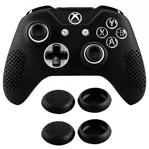 eXtremeRate Soft Anti-slip Silicone Controller Cover Skins Thumb Grips Caps Protective Case for Microsoft Xbox One X & One S Controller Black