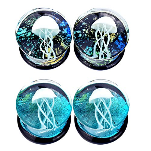 Lianrun 2Pairs Glass Ocean Jellyfish Ear Plugs Gauges Expander Tunnels 6 Style to Choose Size 0g-5/8