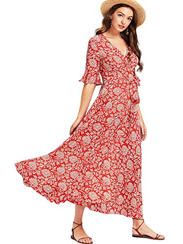 (Milumia Women's Boho Deep V Neck Floral Chiffon Wrap Split Long Maxi Dress Medium Red-2)
