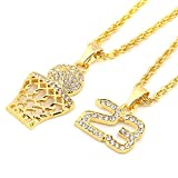 HZMAN Mens 14k Gold Plated Basketball Rim & 23 Number Set Pendant Hip Hop 30' Rope Chain