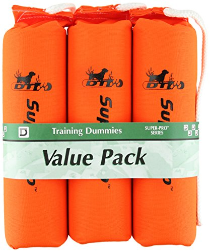 D.T. Systems Cordura Nylon Dog Training Dummy, Blaze orange, Large, 3-Inch by 12-Inch, 3-Pack