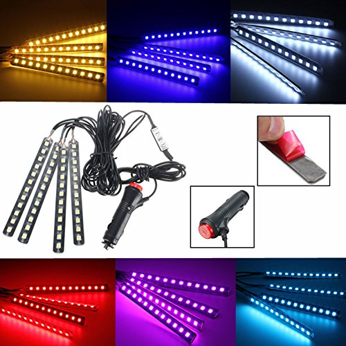 Car-Interior-Lights-GLIME-4-Piece-12-LED-Car-Atmosphere-LightInterior-Underdash-Lighting-Kit-Car-Auto-Floor-LightsWaterproof-Glow-Neon-Light-Strips-Decoration-Lamp-for-All-Vehicles
