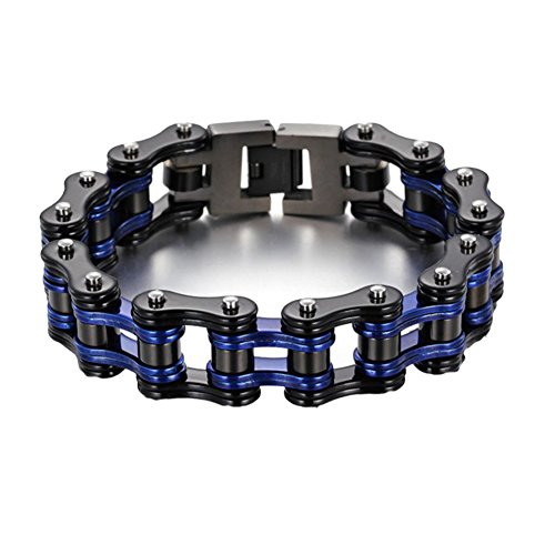 - Men Stainless Steel Bracelet Bicycle Bracelet Wide Link Rock Punk Motorcycle Chain Men's Jewelry Wristband