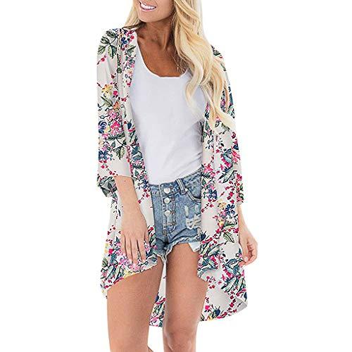 (Sunhusing Women's Half Sleeve Print Chiffon Beach Cardigan Smock Holiday Bikini Sun Protection Cover-Up Top White)