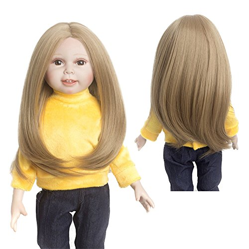 """Wigs Only! Mocca Golden Big Curls 30cm Long 100g Synthetic Doll Wig for 18'' Height American Girl Doll with 10-11"""" Head from MUZI WIG"""