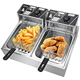 Deep Fryer Dual Tank 5000W Stainless-Steel 2 Basket Electric Fryer with Timer Free Extra Odor Filter,12L/12.7QT Oil Fryer Oil Filtration for Commercial Restaurant Countertop Kitchen Adjustable Temp