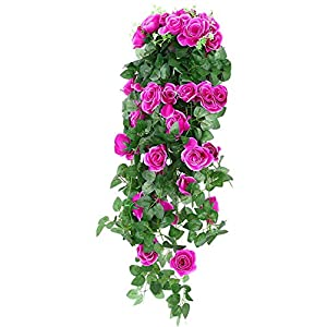 Wenyujh Artificial Rose Garland Wall Hanging Silk Flowers Rattan Ivy Vine for Wedding Party Garden Decoration 47