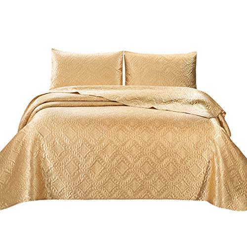ARTALL Full/Queen Size Bedspread, Silky Super Soft 3 Piece Deep Pocket Satin Solid Bed Quilt Coverlet – Golden