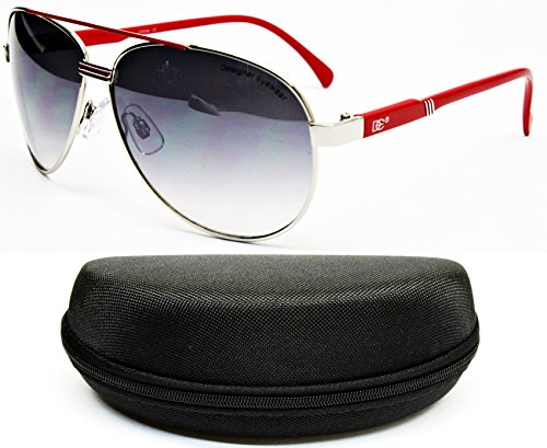 D516-CC Designer Eyewear Turbo Aviator Metal Sunglasses (711E Silver/red, - Aviator Sunglasses Turbo
