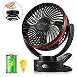 KEYNICE Clip Fan, USB Desk Fan with 5000mAh Battery, Portable Camping Fan with Hook, 2 Level Light, 4 Speeds Adjustable, 360° Manual Rotation, Personal Cooling Fans for Baby Stroller Office Camping