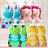 ChooMee Snackn Reusable Food Pouch - 8 CT | 5 oz. | Soft Pouch + Zero Leak Zipper | Enhance their Feeding Experience with Vibrant Colors and Fun Animal Characters