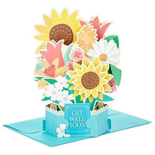 Hallmark Wonderfolds Sunflower Bouquet Pop Up Get Well Card (Get Well Bouquets)