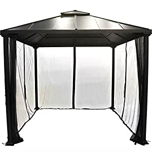 Hot Tub Gazebo Canopy Garden Backyard Bbq Grill Heavy Duty Top Metal Frame Patio 10x10 Foot Outdoor Netted Curtains Cover Tent Set & e-book by Amglobalsupplies