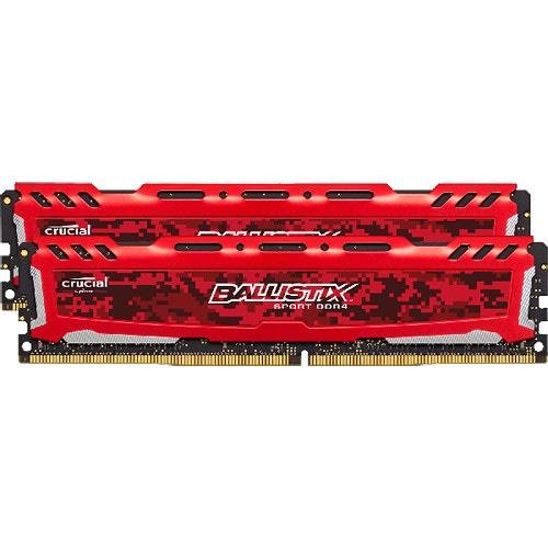 Crucial Ballistix Sport LT 2400 MHz DDR4 DRAM Desktop Gaming Memory Kit 8GB (4GBx2) CL16 BLS2K4G4D240FSE (Red)