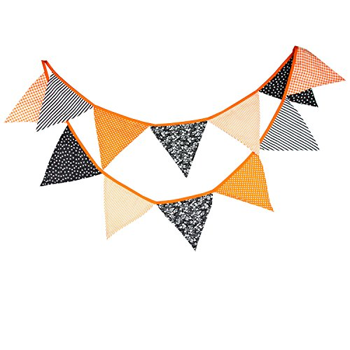 Halloween Vintage Cotton Fabric Buntings Garlands 12 Flags Halloween Party Decoration Orange Banner Pennant Rustic Hanging Decor 10.5 Feet -