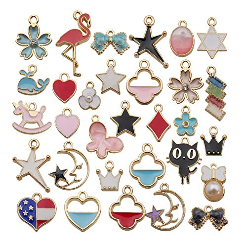 - Youdiyla 30 Mixed Enemal Charms Collection, Gold Plated, Cherry Flower Swan Moon with Star Whale Heart Unicorn Cat Square Bow Crow USA Heart Metal Pendant for Jewelry Marking HM328