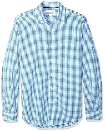 Amazon Essentials Men's Slim-Fit Long-Sleeve Casual Poplin Shirt, Green/Blue Tattersall, X-Large