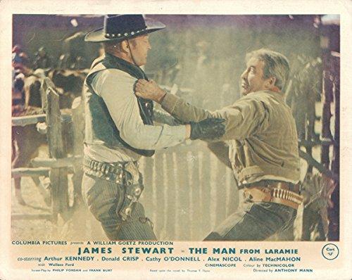 Man From Laramie original lobby card James Stewart throws punch (Punch Throws)