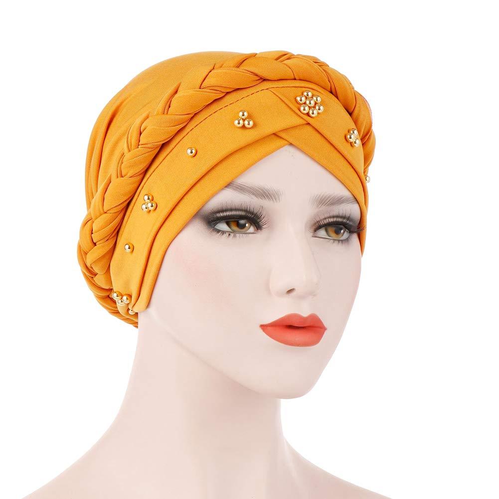 BrawljRORty Muslim Scarf Wraps - Solid Color Braid Beads Decor Women Muslim Hijab Turban Head Scarf Cap Hat by BrawljRORty (Image #7)