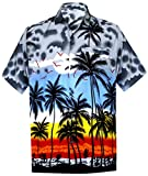 LEELA Likre Aloha Dress Men's Shirt Grey 261 Large | Chest 44'' - 48''