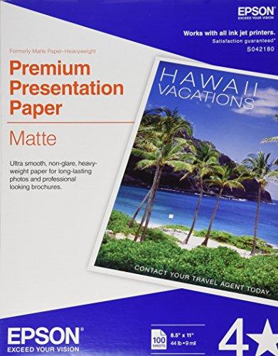 Epson Premium Presentation Paper MATTE (8.5x11 Inches, 100 Sheets) - Matte Ultra Premium Epson