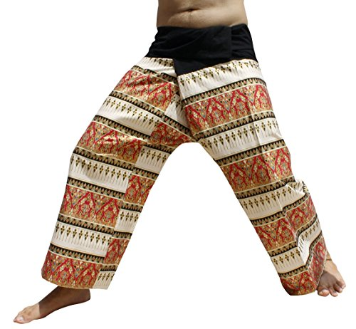 RaanPahMuang Brand Batik Thailand Fishermans Pants Beautiful Patterns, Medium, Thai Art - Thai Fisherman Pattern Pants