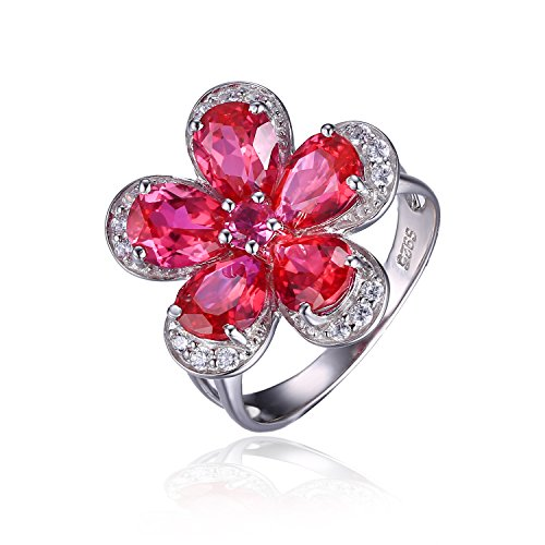 Jewelrypalace Womens 4.3ct Flower Style Pear Round Cut Created Red Ruby 925 Sterling Silver Ring Size 9
