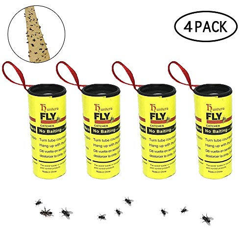 Lure Fly Sticky - KOBWA 4PCS Fly Paper Ribbons,Sticky Fly Catcher Trap, Fly Catcher Ribbon,Fly Paper Strips,Fly Trap for Gnats, Mosquitos, Moth Indoor or Outdoor - Eco-Friendly 100% Non-Toxic
