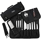 Chef's Knife Roll Bag (14 slots) Holds 10 Knives PLUS Meat Cleaver, Utility Pocket, AND 3 Tasting...