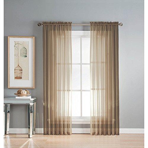 Window Elements Diamond Sheer Voile Extra Wide 56 x 95 in. Rod Pocket Curtain Panel, Mocha (Window Covering Ideas)