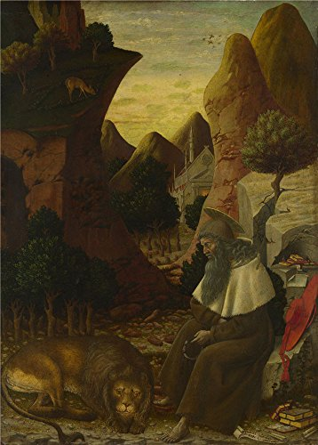 Oil Painting 'Bono Da Ferrara - Saint Jerome In A Landscape,about 1440' 30 x 42 inch / 76 x 106 cm , on High Definition HD canvas prints is for Gifts And Hallway, Home Office And Home Theater decor