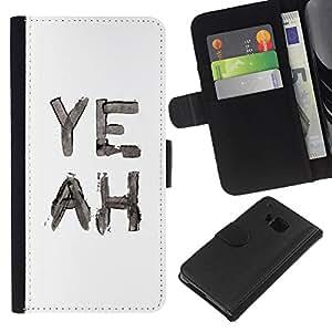 All Phone Most Case / Oferta Especial Cáscara Funda de cuero Monedero Cubierta de proteccion Caso / Wallet Case for HTC One M7 // White Text Minimalist Rebel Watercolor