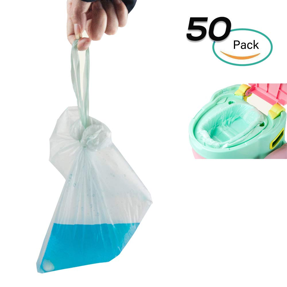 50 Pack Potty Liner with Drawstring, Galaxer Disposable Travel Baby Potty Training Toilet Bag PE Material Leakproof Liner Universal Size Avoid Germs Spreading (50 pcs)