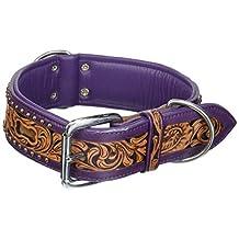 "Angel Pet Supplies 11054 Genuine Dog collar. 26"" X 2"", Western Tooled in Purple and Brown Hair-On, Inlay Argentinean cowhide. Elite (San Antonio) Necks: 20""-24"""