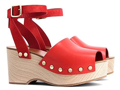 Céline Sandalias con Plataforma de Madera EN Cuero Bright Red Calf - Número de Modelo: 321243BDCC 27PY Rosa brillante