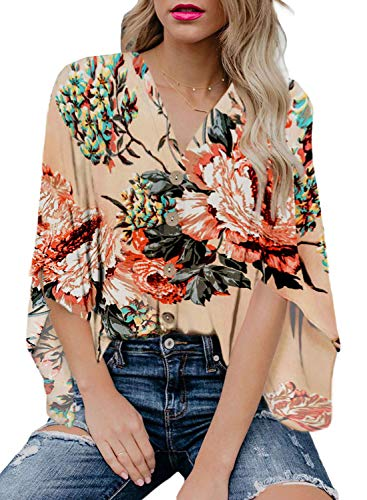 Womens Summer Tops Floral Chiffon Blouses Spring Boho Tops for Women Button Down 2019 Work Casual Short Sleeve Blouse S Apricot