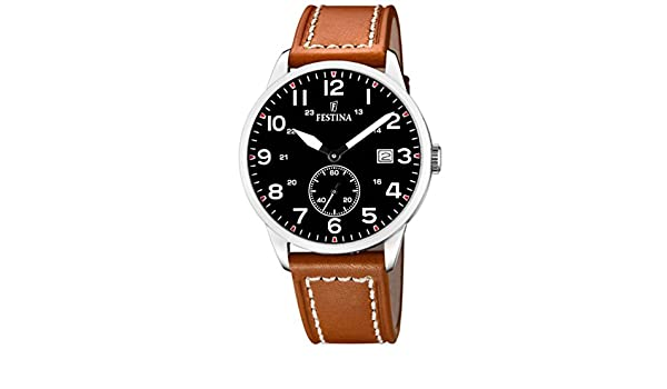Amazon.com: Festina Man Watch F20347/7 Stainless Steel Black dial Leather Strap: Watches