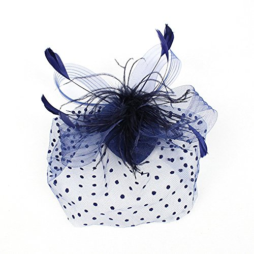 HANANei Fashion Wedding Women Fascinator Penny Ribbons and Feathers Party Mesh Hat (Blue) ()